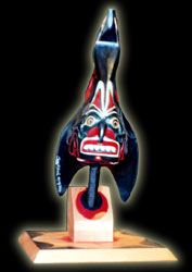 Carved Native Indian Art - Ceremonial Rattle -  Raven
