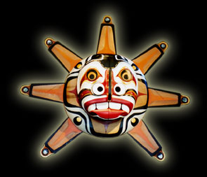 Native Indian Art - Ceremonial Transformation Masks - Sun / Moon Mask